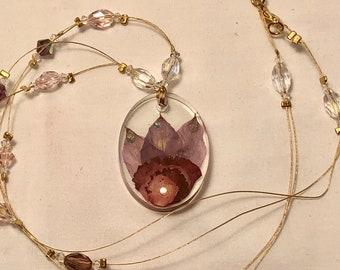 Oval Carnation, Alstroemeria, Crystal Necklace