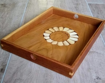 Tray of cherry wood with burnt pickled veneer