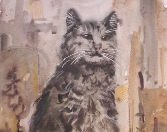 Original Watercolor Painting, A Cat