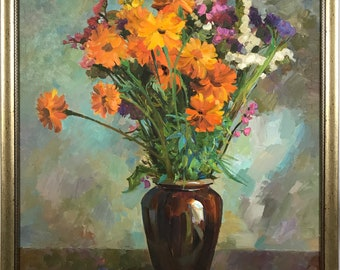 Large Original  painting, Flowers, Still life, Oil on canvas Painting, Summer, One of a kind