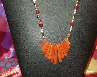 Necklace - Red Jasper, Carnelian, Swarovski Crystals