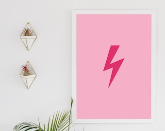 Lightening bolt -  inspirational quote, typography digital download print, pink