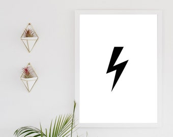 Lightening bolt -  inspirational quote, typography digital download print, black