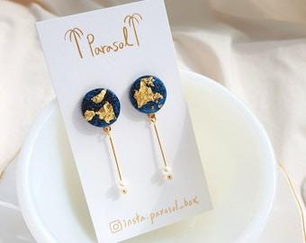Party Resin  Deep Blue Sea Drop Earrings with Fresh Water Pearls