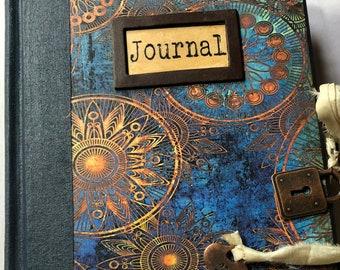 Junk Journal, Blue junk journal, handmade journal, vintage junk journal, junkjournalshop, junk journal handmade