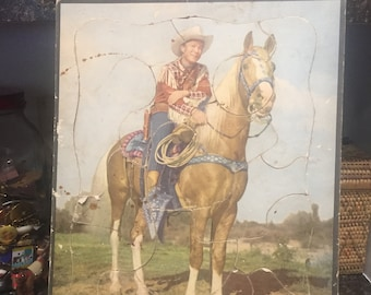 VINTAGE 1950 Rohr Company Roy Rogers and Trigger Cardboard Puzzle