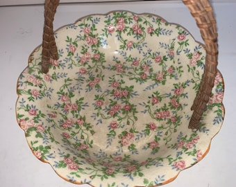 Vintage 1950s Scalloped Edge Pink Roses Bowl Trinket Dish with Wicker Handle Made in Japan