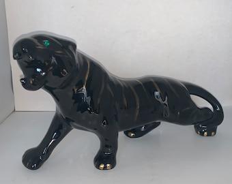 Mid Century Modern Black Ceramic Tiger Figurine Gold Stripes Jewel Green Eyes