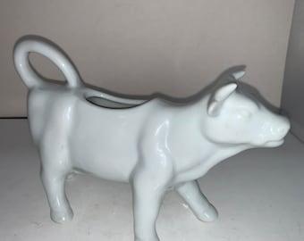 Vintage White COW Creamer Horns Farmhouse Modern Farm Style