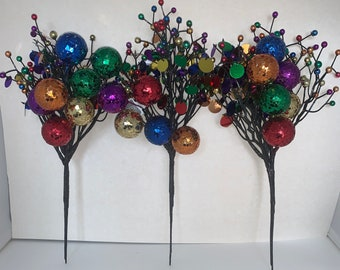 """11"""" Sequin Ball Bangle Floral Pick Set of 3~~New Year's Decor~~Decor Picks~~Fun Bright Colors SPARKLY~~Holidays~~Party"""
