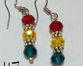 Red, Blue, and Yellow Dangle Earrings