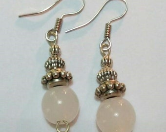 White with Silver Accent Earrings
