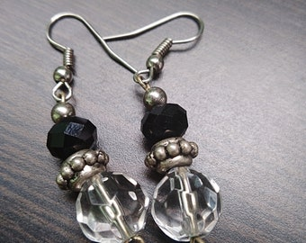 Clear with Black and Silver Accent Earrings