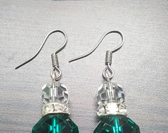 Clear with Green Accent Earrings