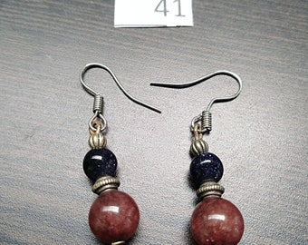 Pink with Blue Stone Accent Earrings