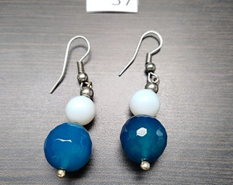 Blue with White Accent Earrings