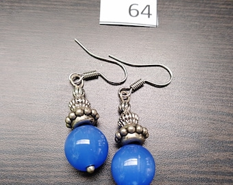 Blue with Silver Accent Earrings