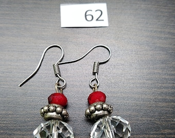 Clear with Red and Silver Accent Earrings
