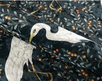 White Heron Birds Printed Upholstery Home Decor Geometric Crushed Velvet Sell By the Metre