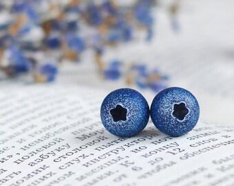 Blueberry earrings,Blueberry ear studs,Blueberry stud earrings,Stud earrings with blueberries,Berry stud,Blue stud earrings,Blueberry tiny