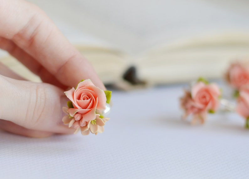 2c399662c6b9bc Peach rose ring Clay blossom ring Floral coctail ring Peach | Etsy