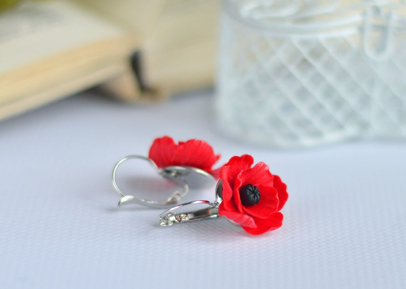 eaf27fe843b1dd Poppy earrings Red flower earrings Poppy jewelry Cute earrings | Etsy