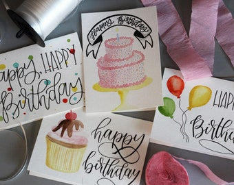 CUSTOM 3x5 ORIGINAL Watercolor Cards with Handlettering/Calligraphy (come with envelopes)