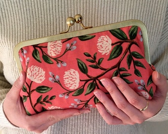 Kiss Lock Frame Clutch, Hand Dyed Waxed Canvas and Leather Clutch Purse with chain,