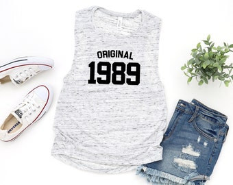 09904bdf Original 1989 Women's Flowy Muscle Tank Top, 30th Birthday Shirt, Gift For  Her, Birthday Announcement, 30th Birthday, Gift For 30th
