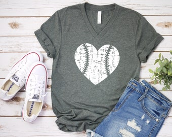 37ee246e Baseball Heart Distressed T-Shirt, Baseball Mom V-Neck Shirt, Women's  Baseball Shirt, Baseball Fan Shirt, Gift For Baseball Mom, More Colors