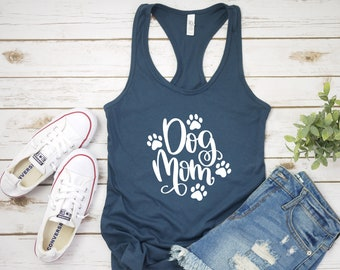 7a5e2058384ebd Dog Mom Paw Prints women s racerback tank top shirt