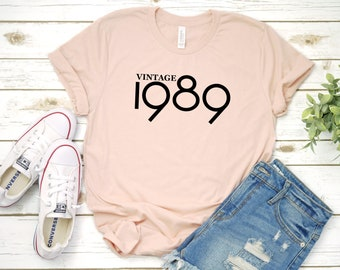 d1e71a198 Vintage 1989 Retro T-Shirt, 30th Birthday Shirt, 30th B-Day Tee, Thirty AF, 30th  Birthday, Funny Birthday Shirt, Gift For Her, More Colors!
