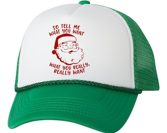 Santa Tell Me What You Want Trucker Hat Cap c2d4fc31db59