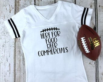 Here For The Food Beer Commercials Women s Football V-Neck Fine Jersey Tee c0f90ed83