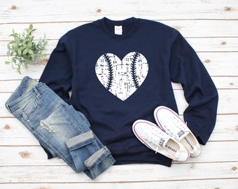 0a86e7bb HEART Baseball Distressed Heavy Blend Crewneck Sweatshirt, Baseball Mom  Sweater, Game Day, Baseball Lover, Baseball Love, Baseball Sweater