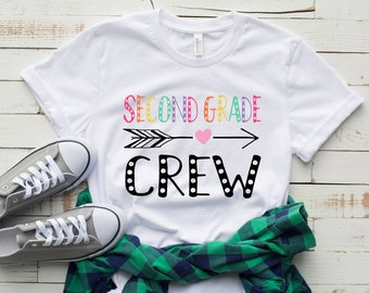 fba2bfb3 Second Grade Crew Shirt, 2nd grade shirt, Teacher shirt, 2nd Grade team  crew t-shirt, 2nd Grade shirt, second grade teacher shirt - White