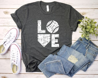 d9f9d4627acd LOVE Baseball Distressed T-Shirt, Baseball Mom Shirt, Women's Baseball Shirt,  Baseball Fan Shirt, Baseball Shirt, Gift For Her, More Colors!