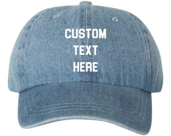 d3dfde3280a Your Text Here Custom Blue Denim Dad Hat Cap