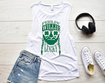 46579bd0a3200a Feelin  Willie Lucky St Patrick s Day Women s Flowy Muscle Tank