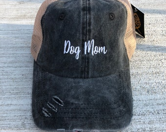 Dog Mom Embroidered Hat, Fur Mama, Dog Lovers, Dog Mama, Pigment Dyed Mesh Baseball Cap, Choose Your Hat Color! Choose Any Color Thread!