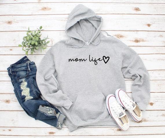 Mom Life Script Sweatshirt Hoodie, Mom Hoodie, Mama Hoodie, Mama, Gift for Mom, Mother's Day Gift, Mama Established Enter Year