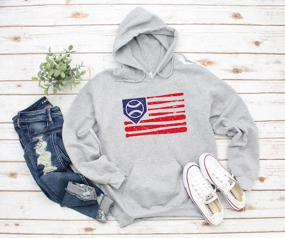 Baseball Distressed Flag Unisex Heavy Blend Hooded Sweatshirt Hoodie, Baseball Hoodie, Game Day Hoodie, Game Day, Baseball Patriotic Flag
