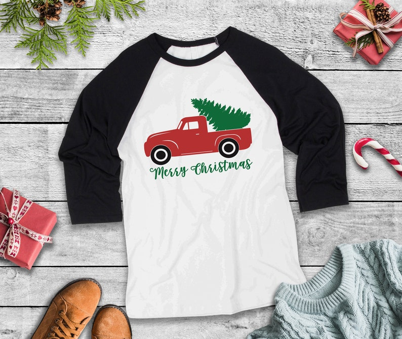 2349e4fa8 Merry Christmas Rustic Truck Three Quarter Sleeve Baseball | Etsy