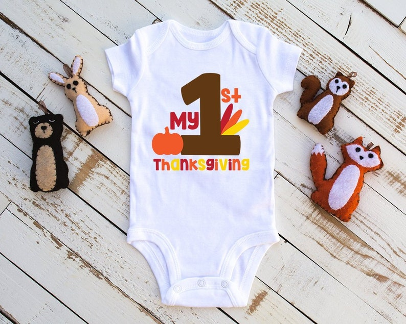 Baby Bodysuit My 1st Thanksgiving Baby Infant Bodysuit Holiday Baby Bodysuit Unisex Baby Clothes Thanksgiving Bodysuit