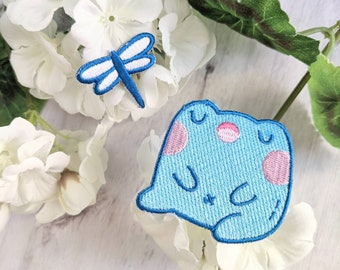 River Frog - Kawaii Singing Frog - Cute Iron-on Patch Set