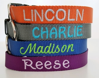 Embroidered Dog Collar, Personalized Custom, Name & Number, 25 Nylon Colors, Lots of Thread and Font Choices, Nylon Adjustable