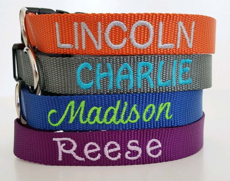 Embroidered Dog Collar Personalized Custom Name & Number 25 image 0