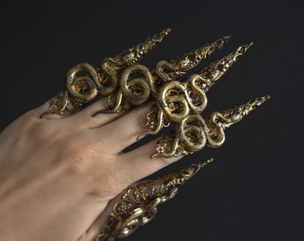 Medusa Claw Rings, Long Claws Set of 5, Witch Pagan Finger Claws, Snake Claw Rings