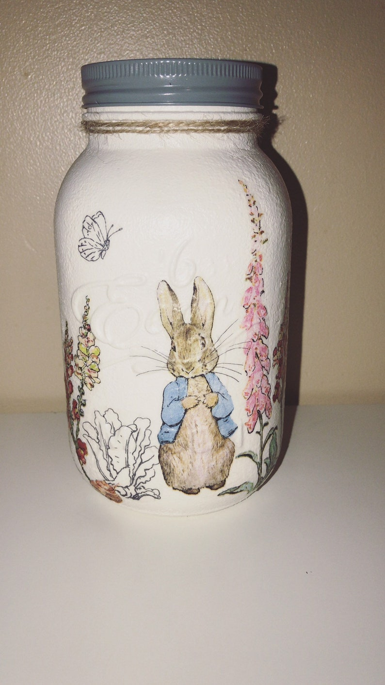 Hand painted decoupaged peter rabbit mason jar baby keepsake baby shower  gift