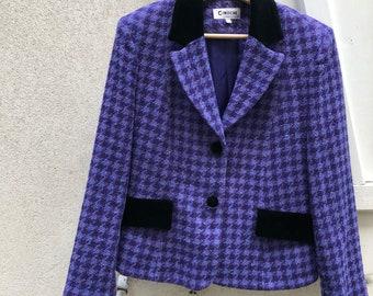 Vintage wool and velvet purple and black houndstooth eighties Cinoche Paris blazer/suit jacket